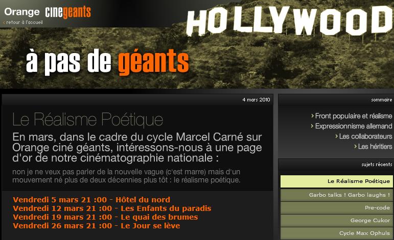 Cycle Marcel Carné sur Orange Cinegeants