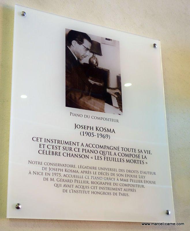 Inauguration à Nice du piano de Joseph Kosma sur lequel il composa Les Feuilles Mortes