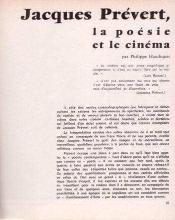 1965 Jacques Prévert La Poésie Et Le Cinéma Par P