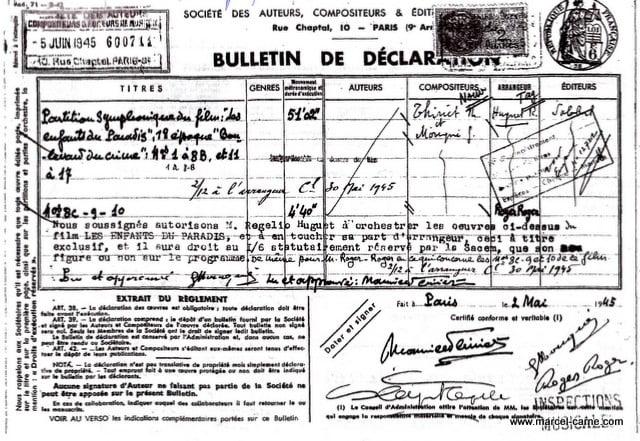 Bulletin de déclaration SACEM  600714 1ère époque boulevard du crime