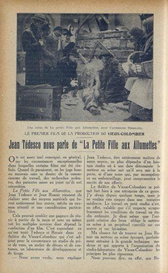 Jean Renoir et La Petite Fille aux Allumettes