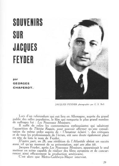 Jacques Feyder dans La Revue du Cinéma (1929)